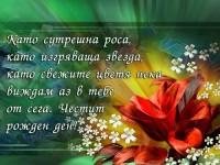 Като сутрешна роса, като изгряваща звезда, като свежите цветя нека виждам аз в тебе от сега. Честит рожден ден!